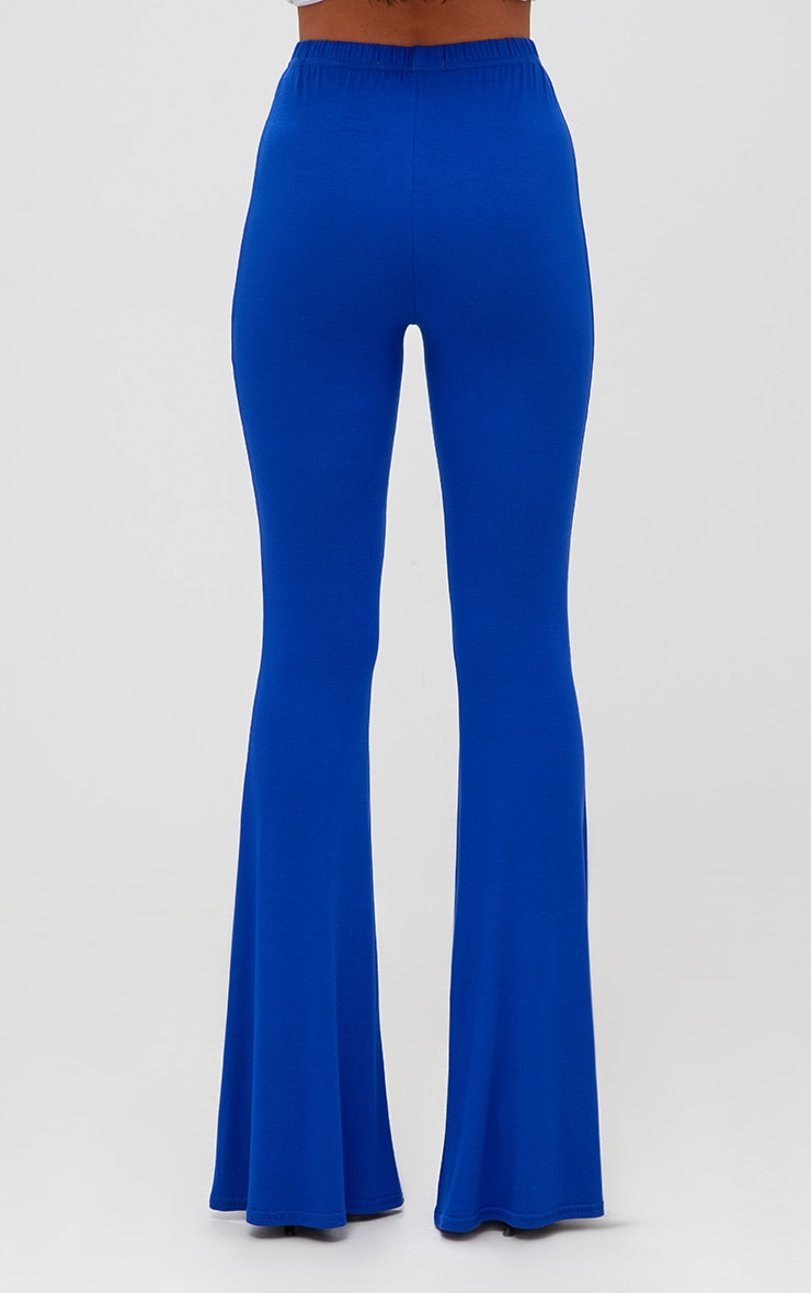 Cobalt Jersey Flared Trousers 4