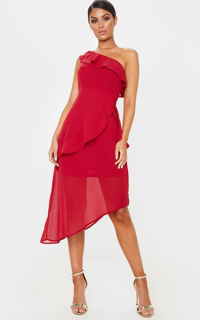 Scarlet Chiffon One Shoulder Midi Dress
