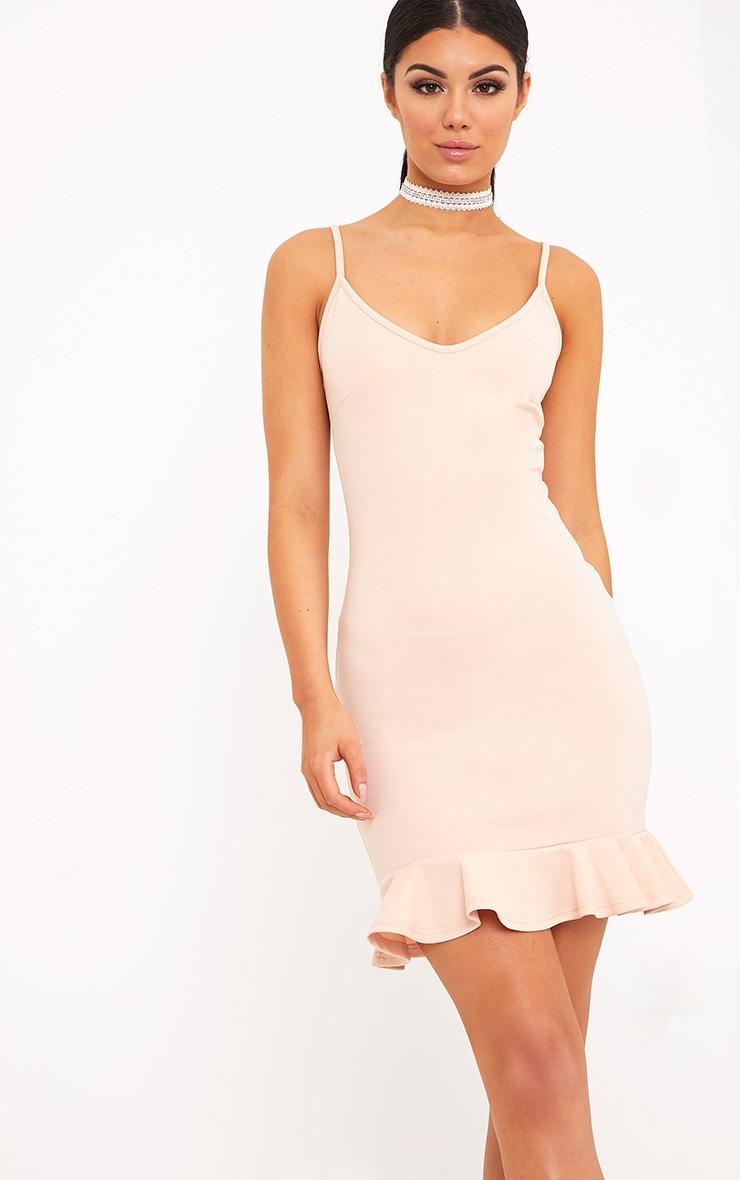 Essie Nude Strappy Frill Hem Bodycon Dress 1