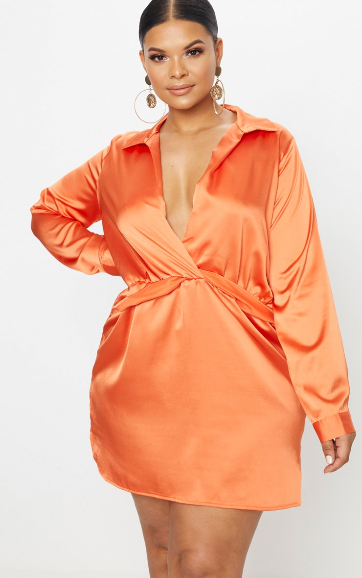 Plus Orange Twist Front Silky Shirt Dress 1
