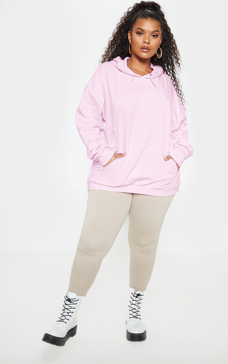 PRETTYLITTLETHING Plus Light Pink Embroidered Oversized Hoodie  5