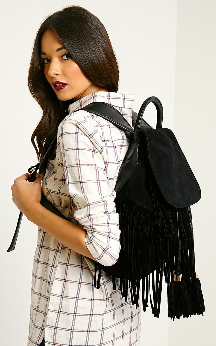 Narina Black Suede Tassel Backpack 4