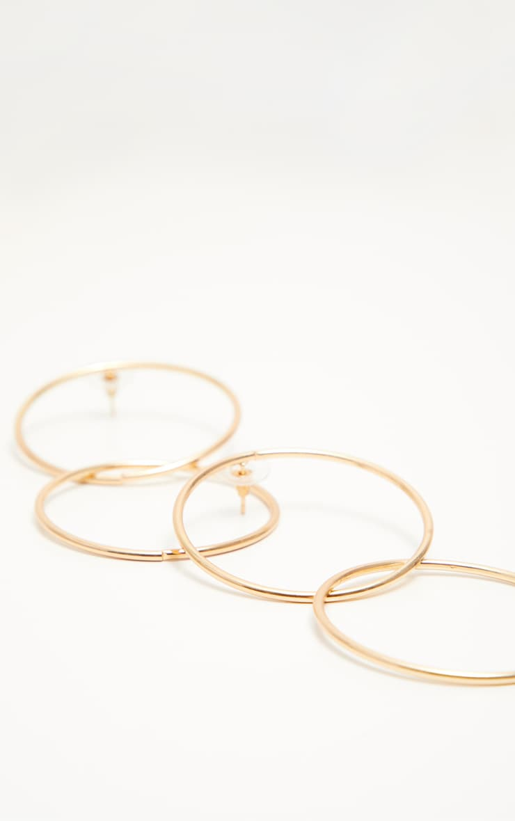 Gold Double Hoop Drop Earrings 3