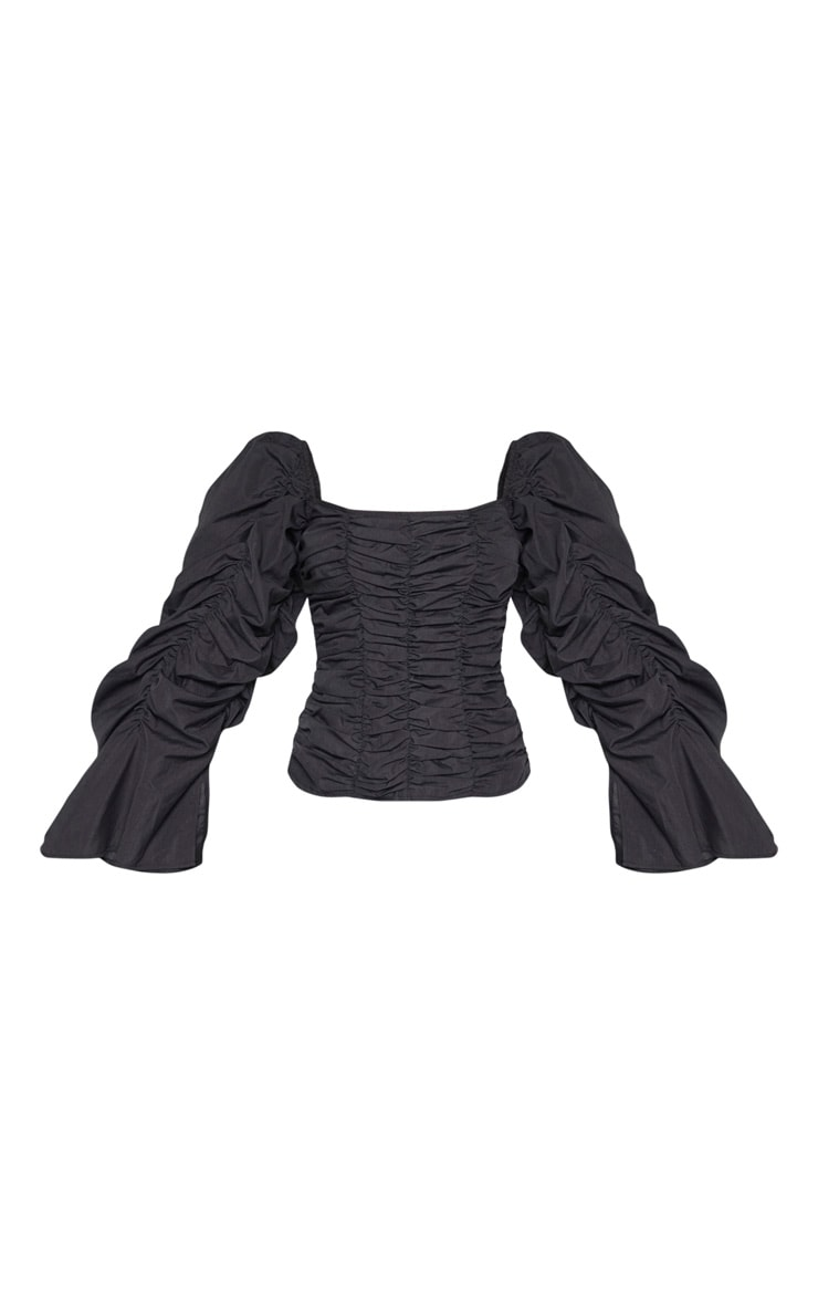 Black Woven Ruched Oversized Sleeve Long Top 3