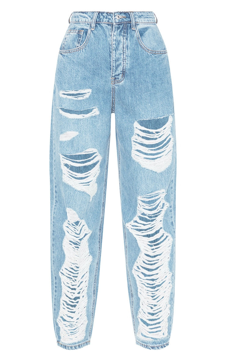 PRETTYLITTLETHING Light Wash Distressed Boyfriend Jean 3