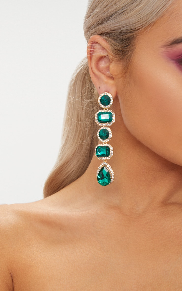 Emerald Green Chunky Diamante Line Drop Earrings 3