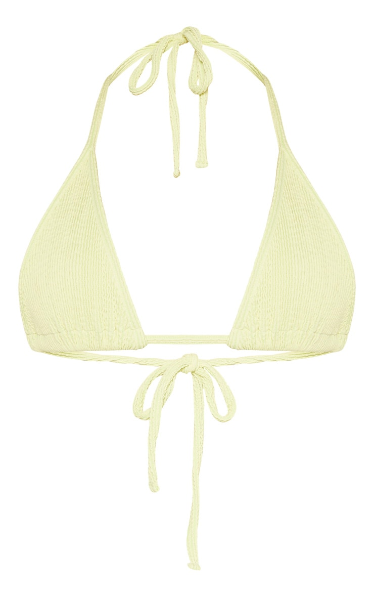 Sage Green Soft Crinkle Triangle Bikini Top 3