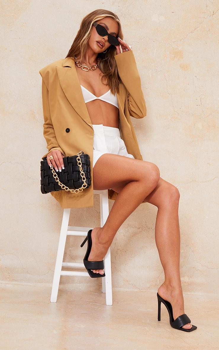 Blazer oversize en maille camel à grandes épaulettes 1
