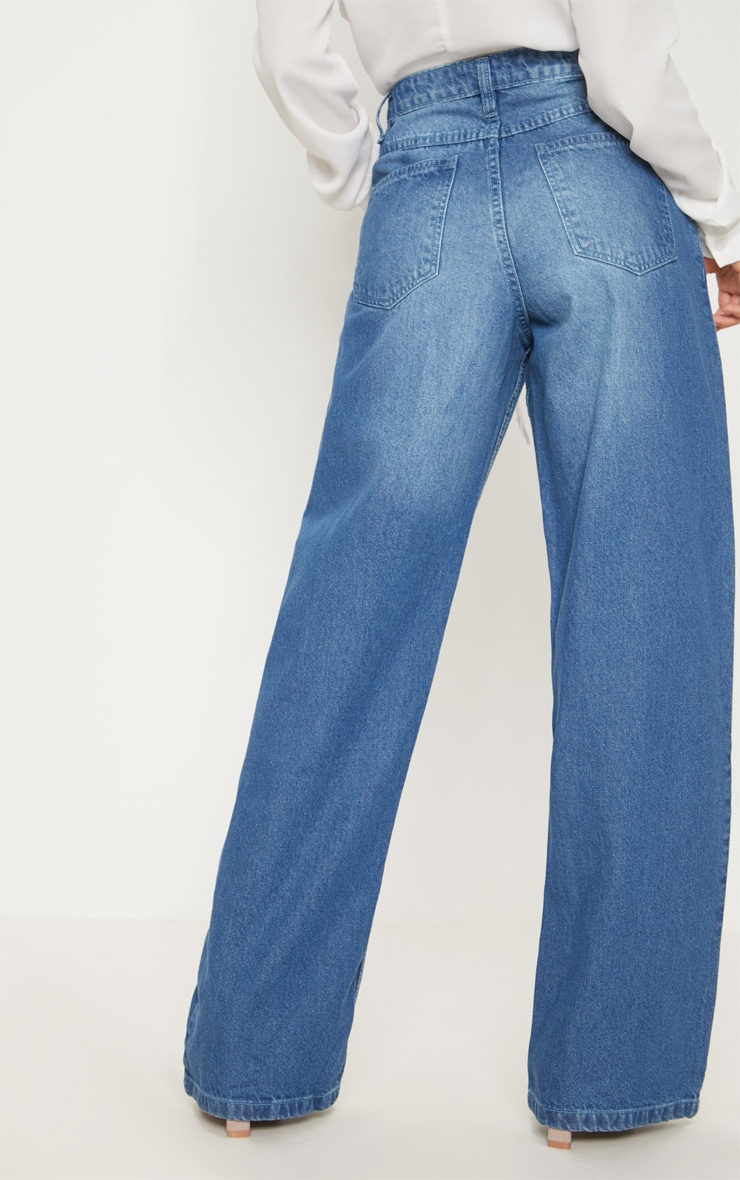 Petite Mid Wash Extreme Wide Leg Jean 4