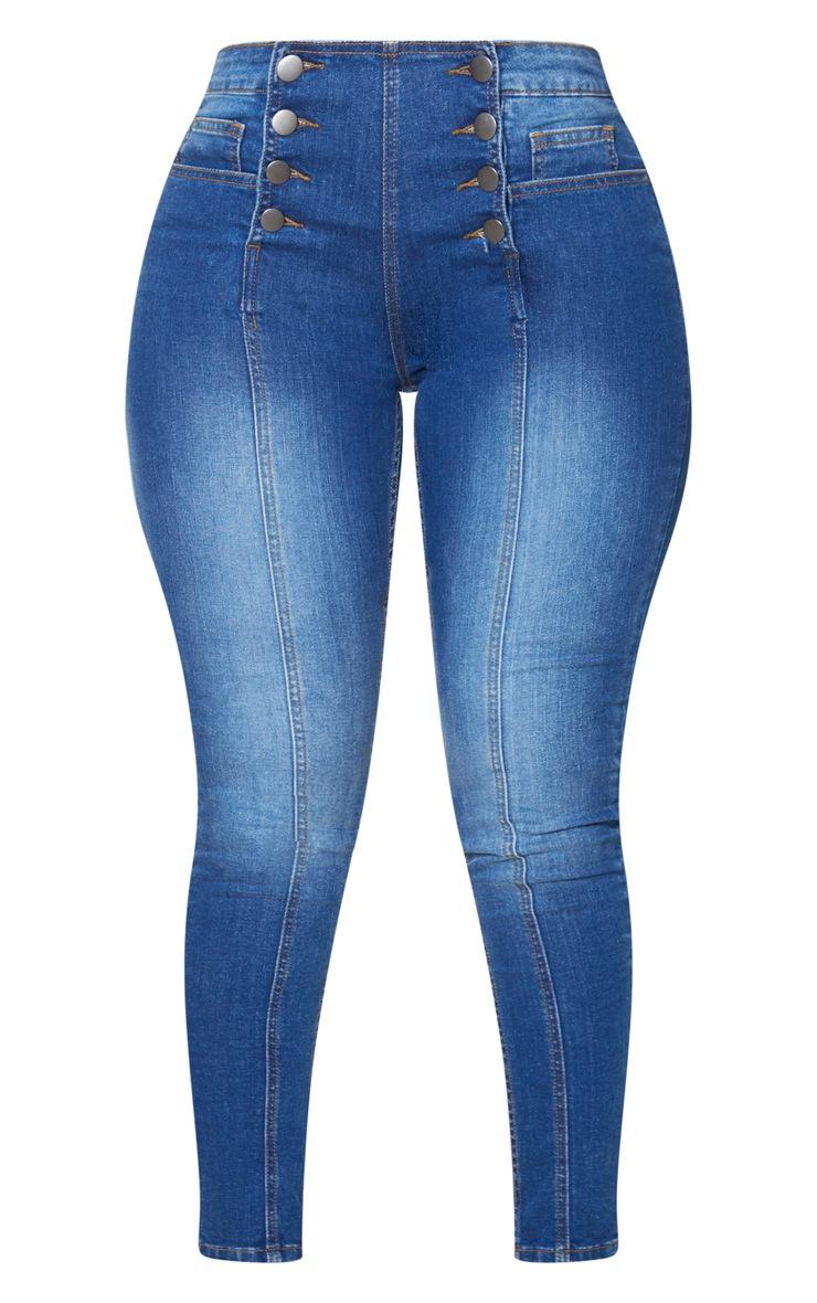 Shape Dark Wash Button Front High Waist Skinny Jeans 3