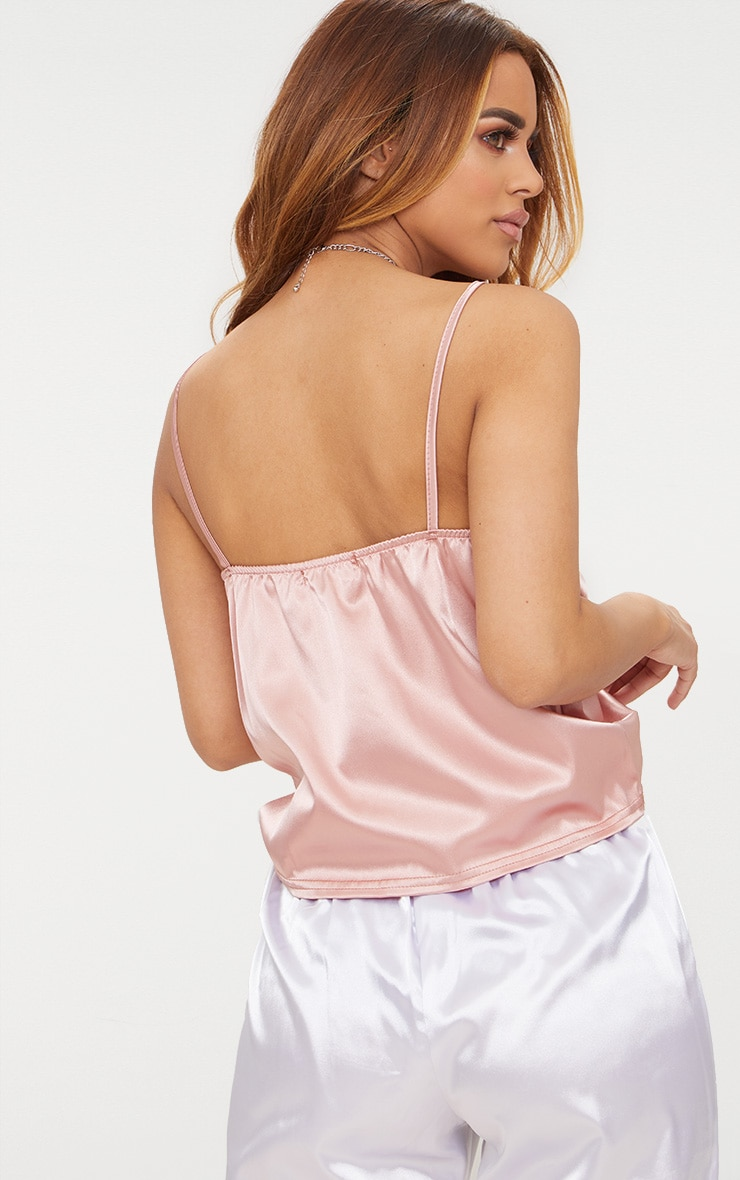 Petite  Dusty Pink Satin Ruched Cami Top 2