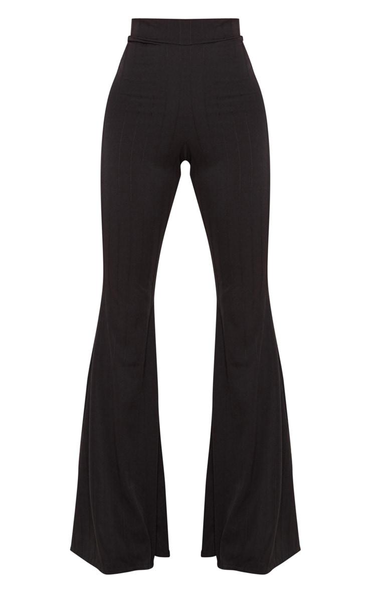 Black Jersey Rib Extreme Flare Trouser 3