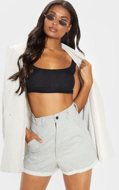 b0422e580a29b0 Grey Marl Sweat Pocket Detail Turn Up Hem Hot Pants