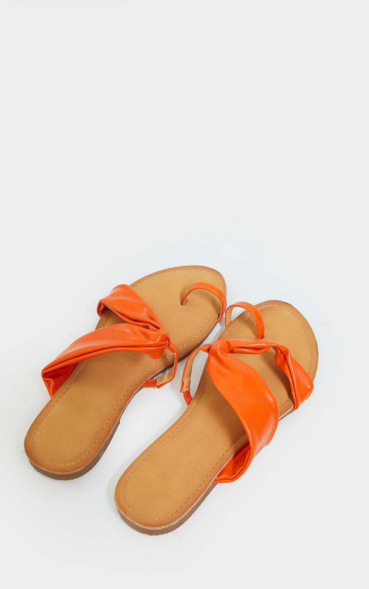 Orange PU Toe Loop Pull Over Detail Flat Mule Sandals 4