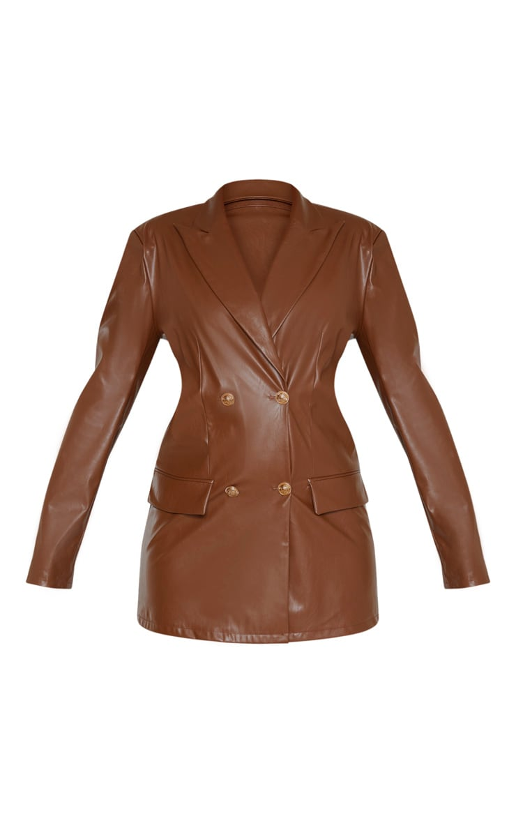 Brown PU Oversized Double Breasted Pocket Front Blazer 3