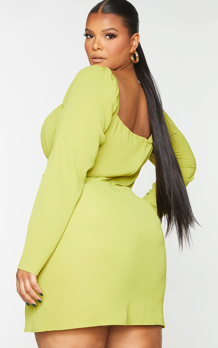Plus Chartreuse  Bow Detail Side Split Bodycon Dress 2