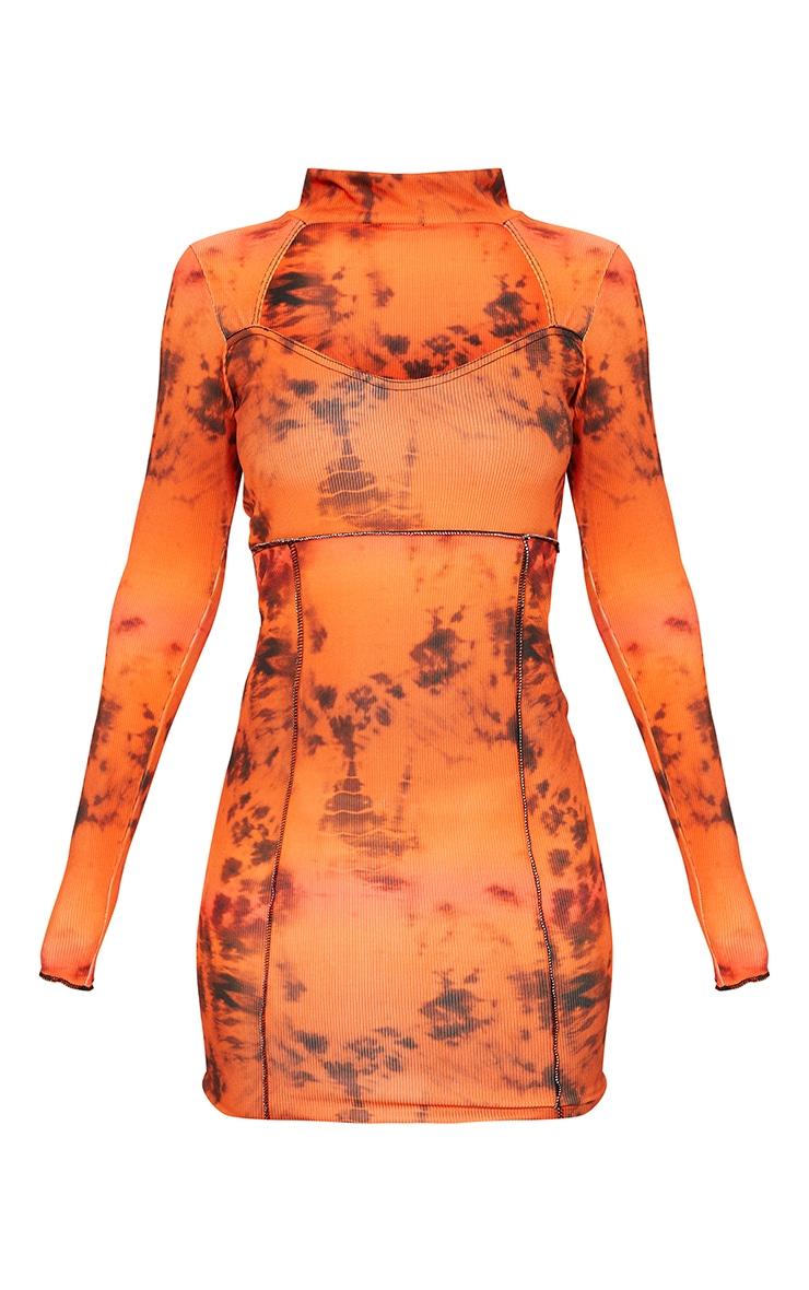 Rust Tie Dye Rib Stitch Detail High Neck Long Sleeve Cut Out Bodycon Dress 5