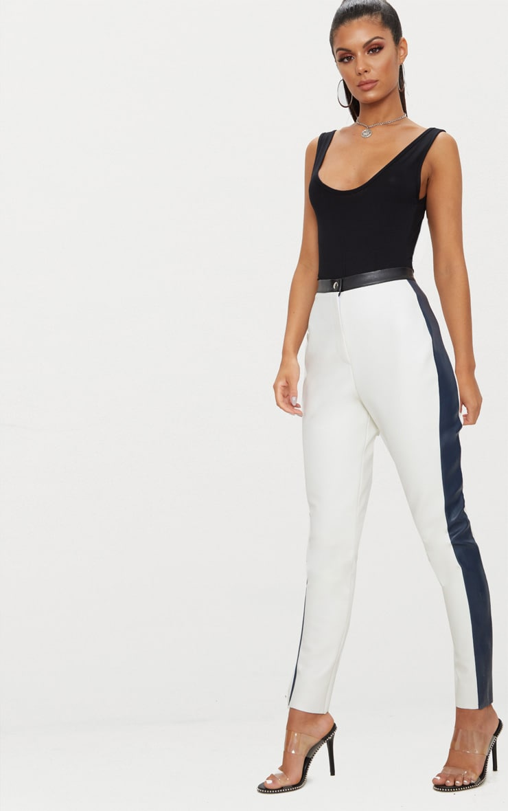 White Faux Leather Panel High Waisted Skinny Trouser 1