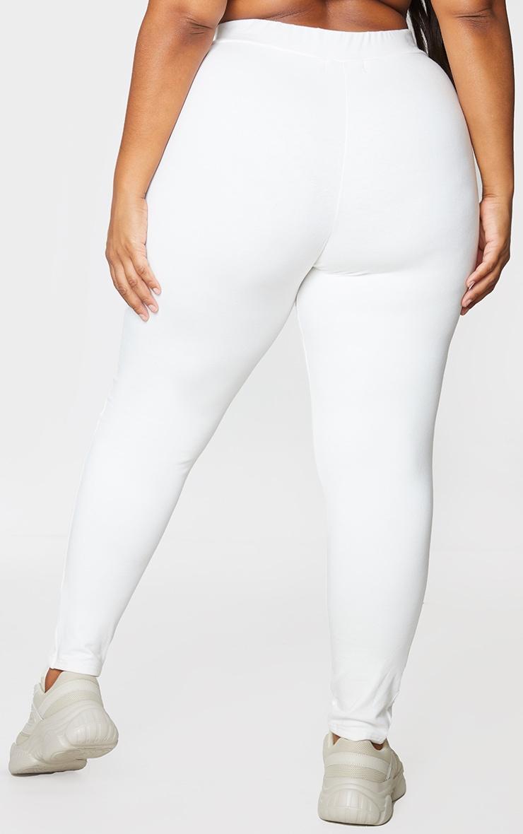 Plus Cream Cotton Seam Detail Leggings 3