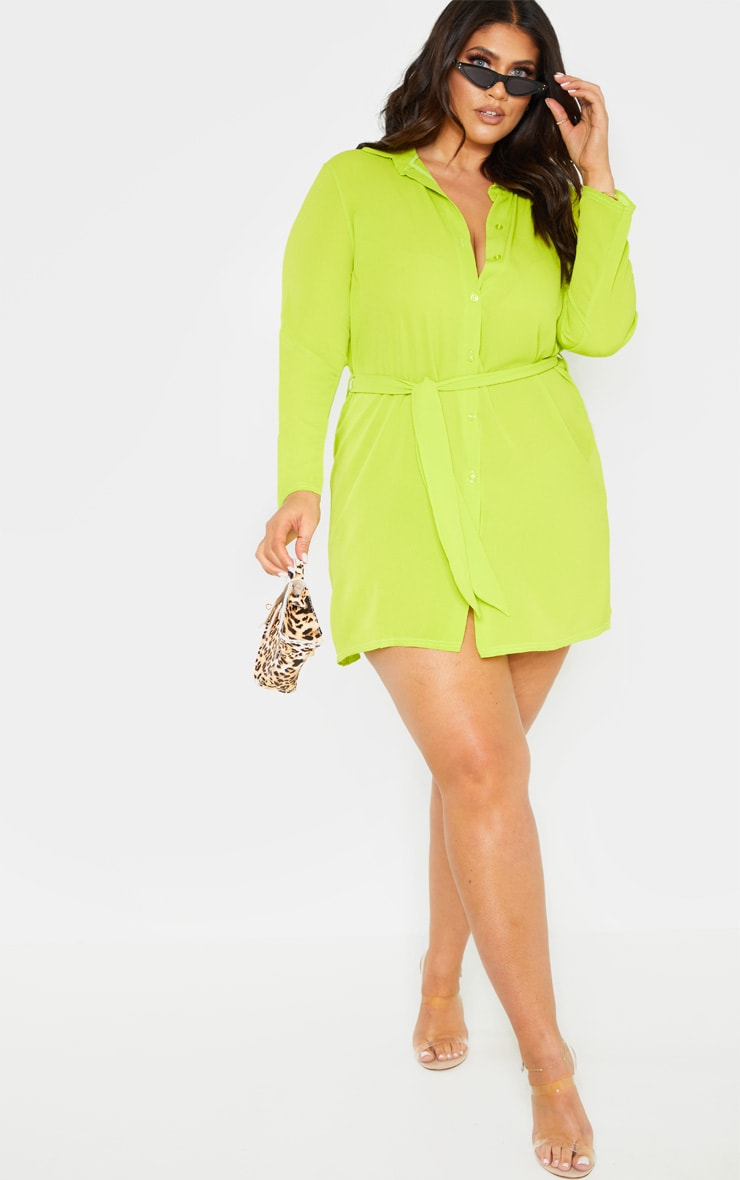 Plus Neon Lime Tie Waist Shirt Dress 1