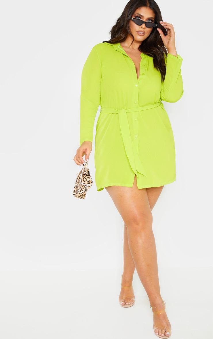 PLT Plus - Robe chemise vert citron à lien sur la taille 1