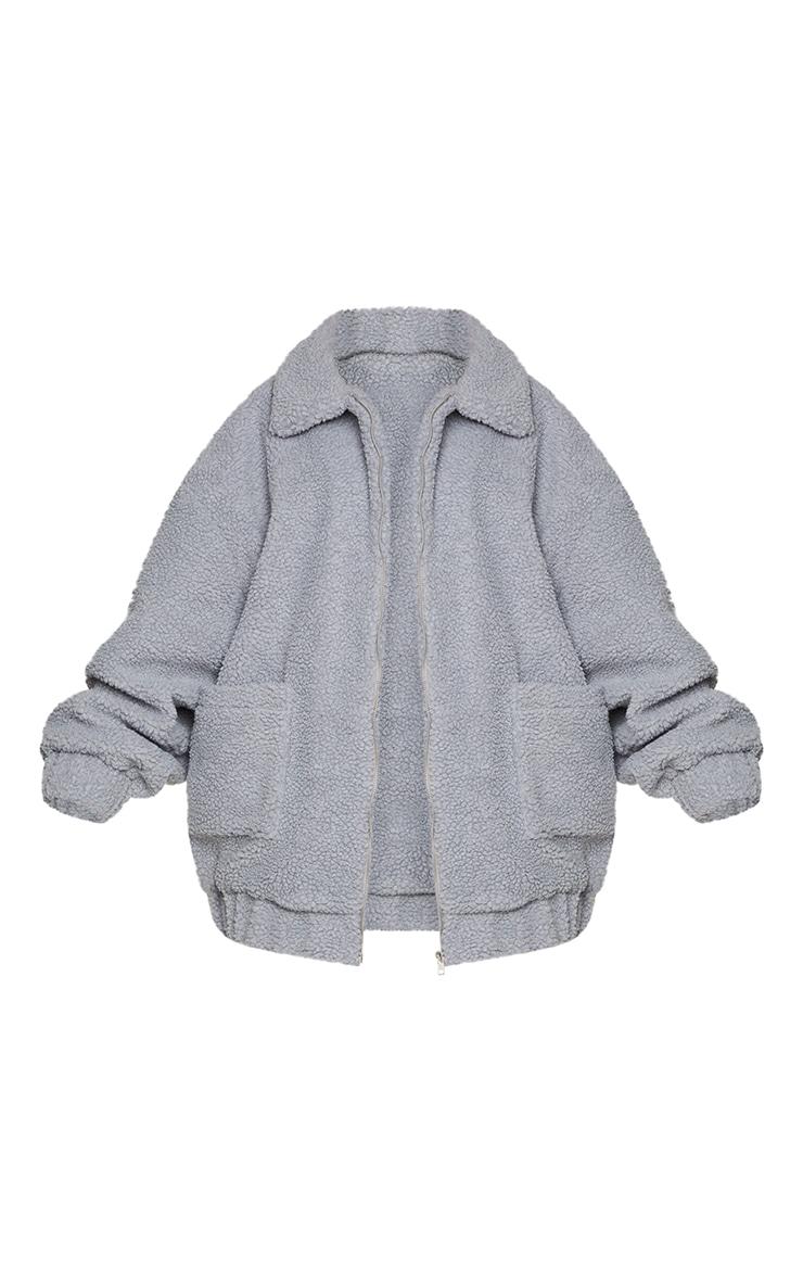 Plus Grey Oversized Borg Pocket Front Coat 5