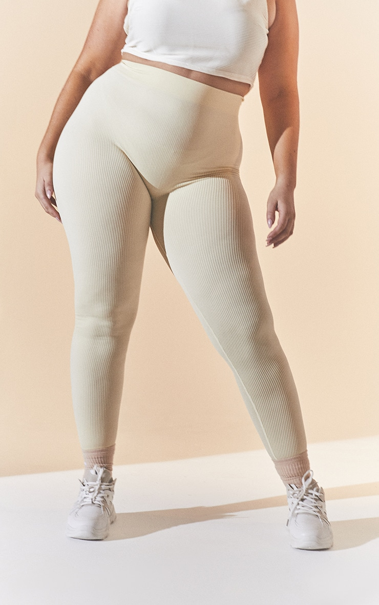 Plus Cream Contour Leggings 3