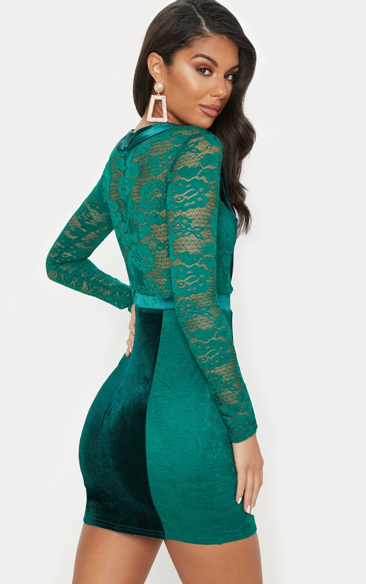 Emerald Green Lace Velvet Blazer Bodycon Dress 2