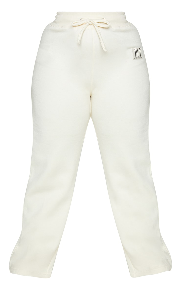 Plus Cream PLT Badge Detail Wide Leg Jogger 5
