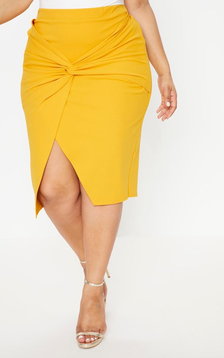 Plus Mustard Knot Front Midi Skirt 2