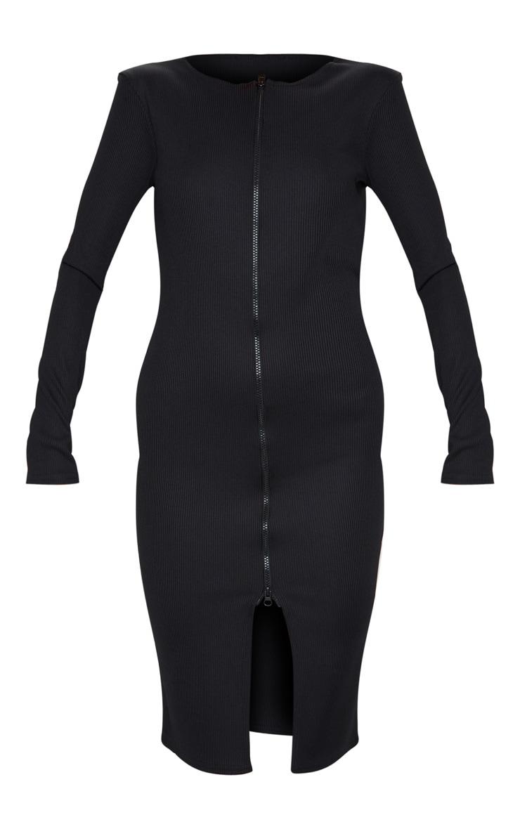 Black Jumbo Rib Double Zip Midi Dress 5