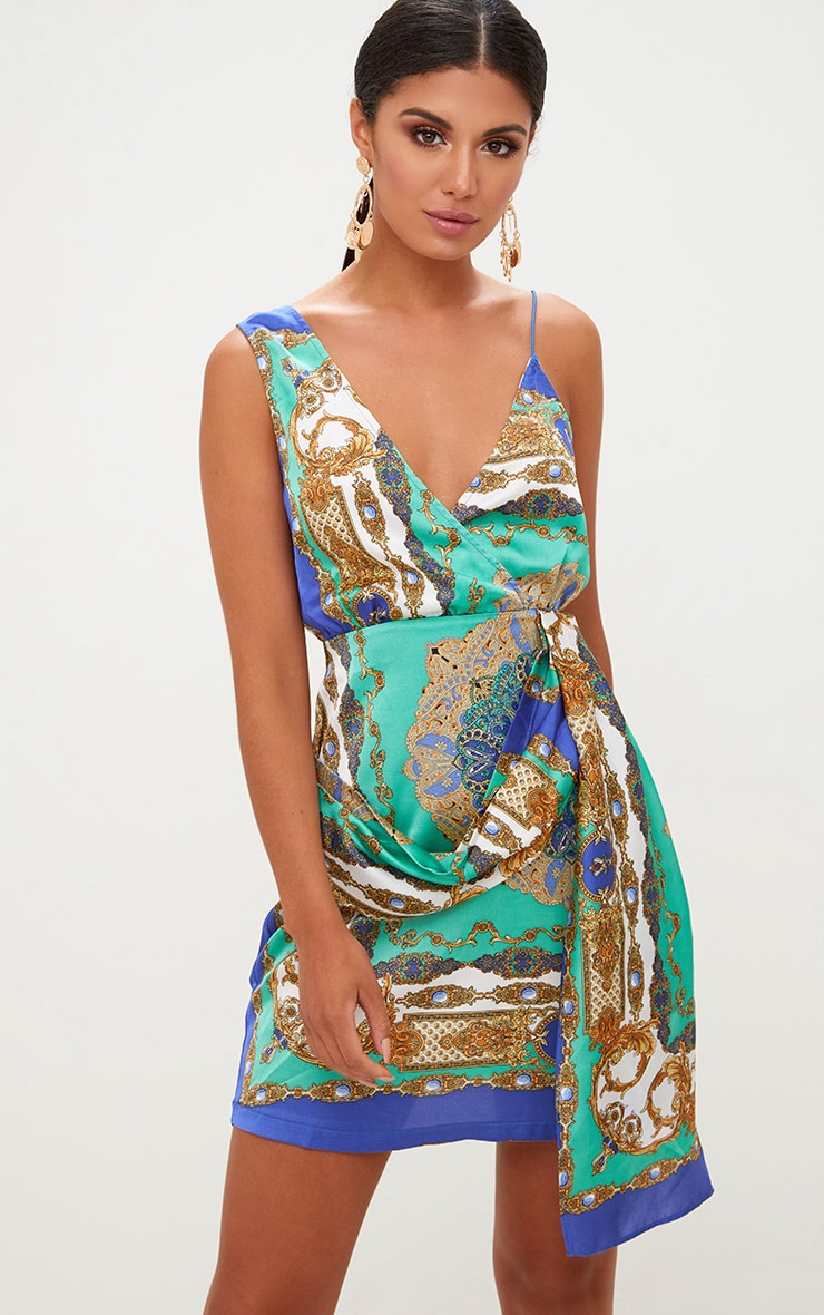 Cobalt Satin Scarf Print Wrap Print Bodycon Dress 1
