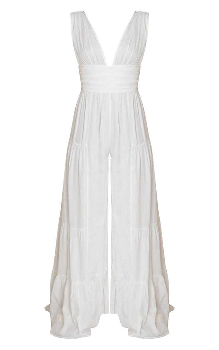 White Linen Look Plunge Tiered Wide Leg Jumpsuit 5