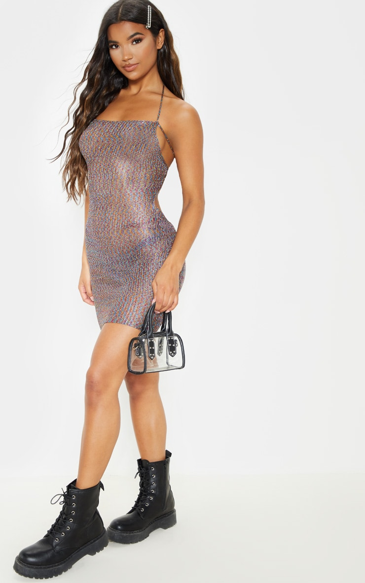 Charlay Multi Metallic Knit Halterneck Mini Dress 4