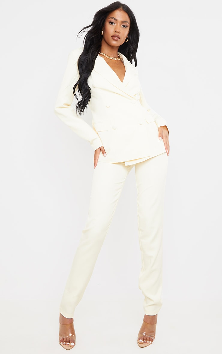 Tall  Cream High Waisted Suit Pants 1