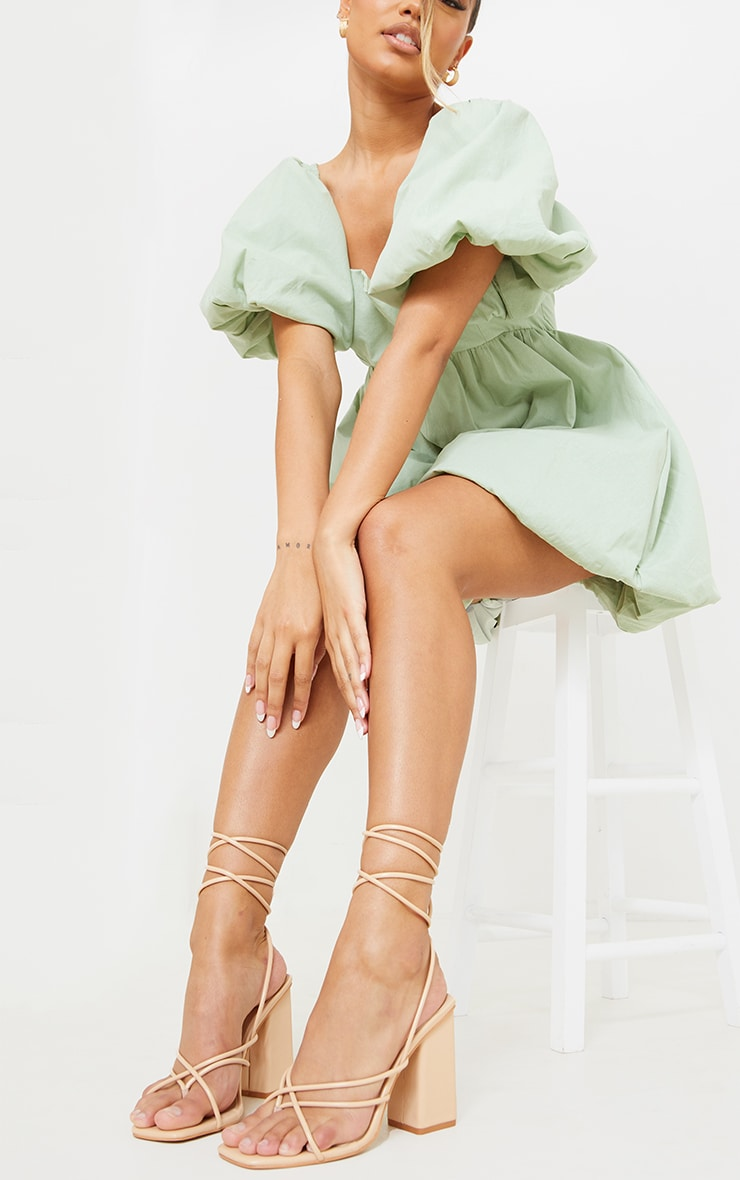 Nude PU Toe Loop Lace Up Chunky Block Heeled Sandals 1