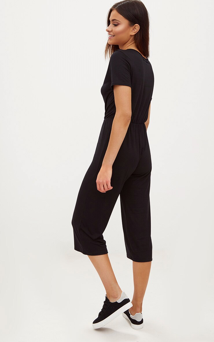Black Jersey Wrap Culotte Jumpsuit 2