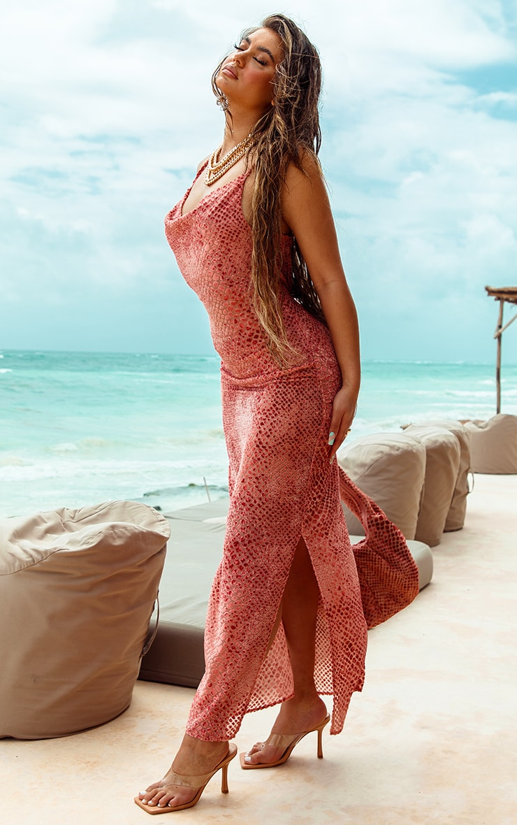 Rose Devore Maxi Beach Dress  1