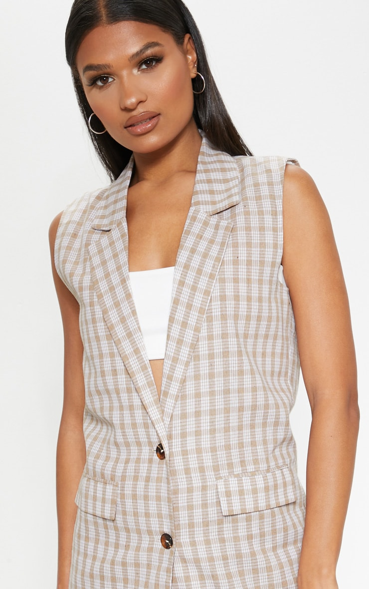 Stone Checked Oversized Sleeveless Woven Blazer    5