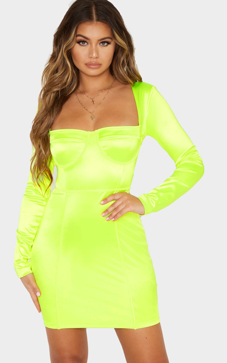 Neon Lime Satin Cup Detail Bodycon Dress 1