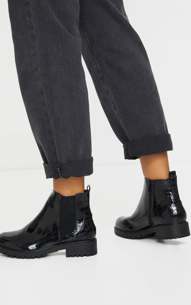 Black Patent Croc Panel Chelsea Boots 1