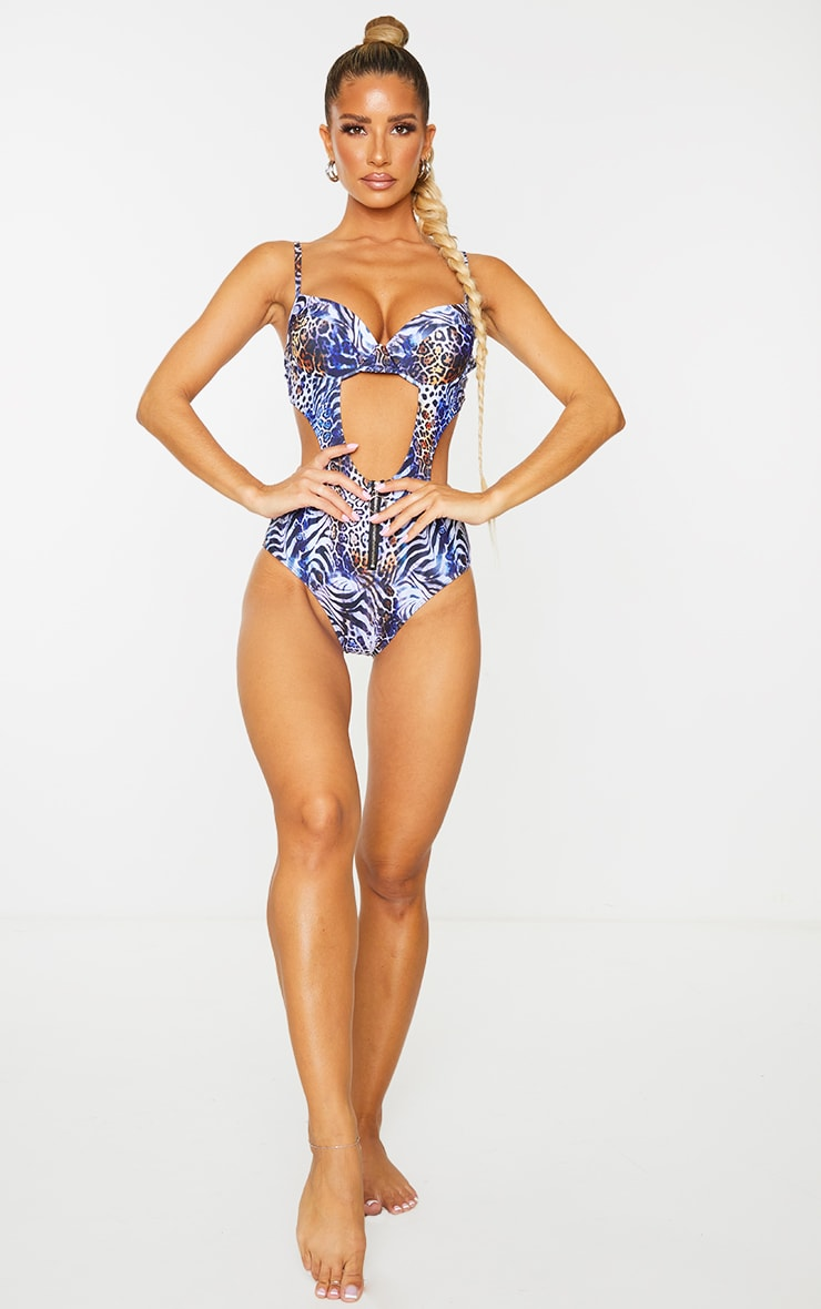 Multi Animal Underwired Extreme Cut Out Swimsuit 3