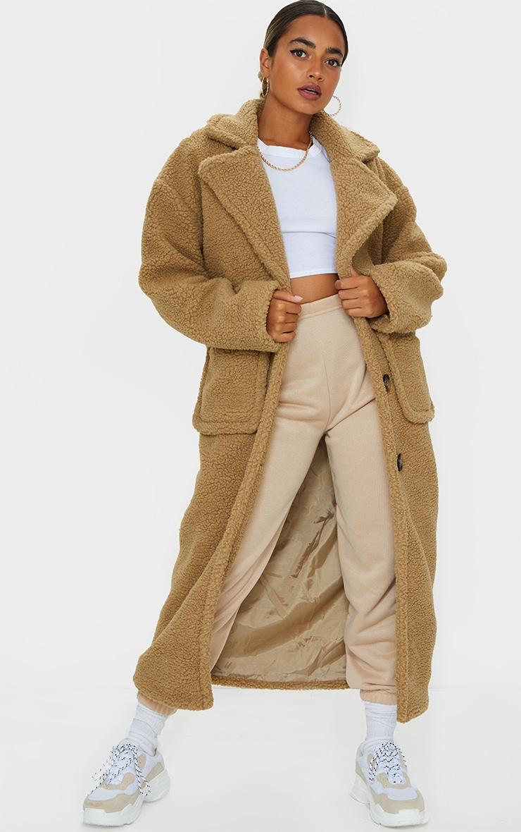 Petite Camel Maxi Borg Coat 1