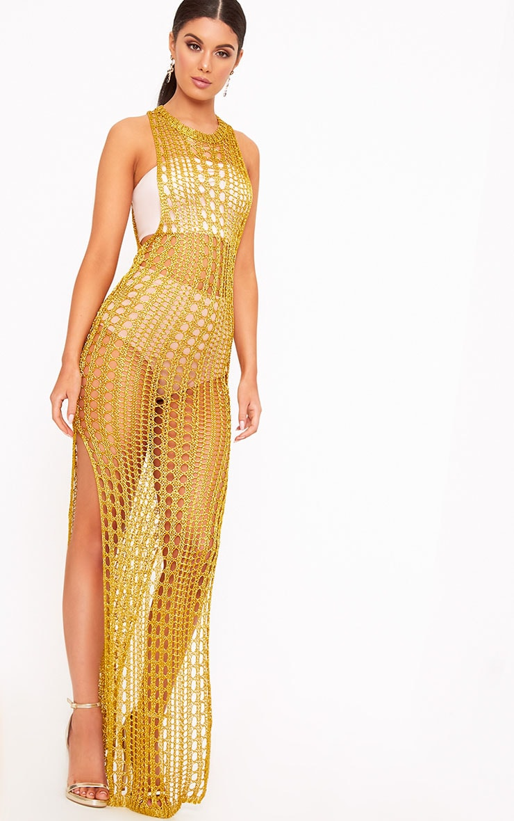 Elissa Gold Metallic Open Knit Maxi Dress 1