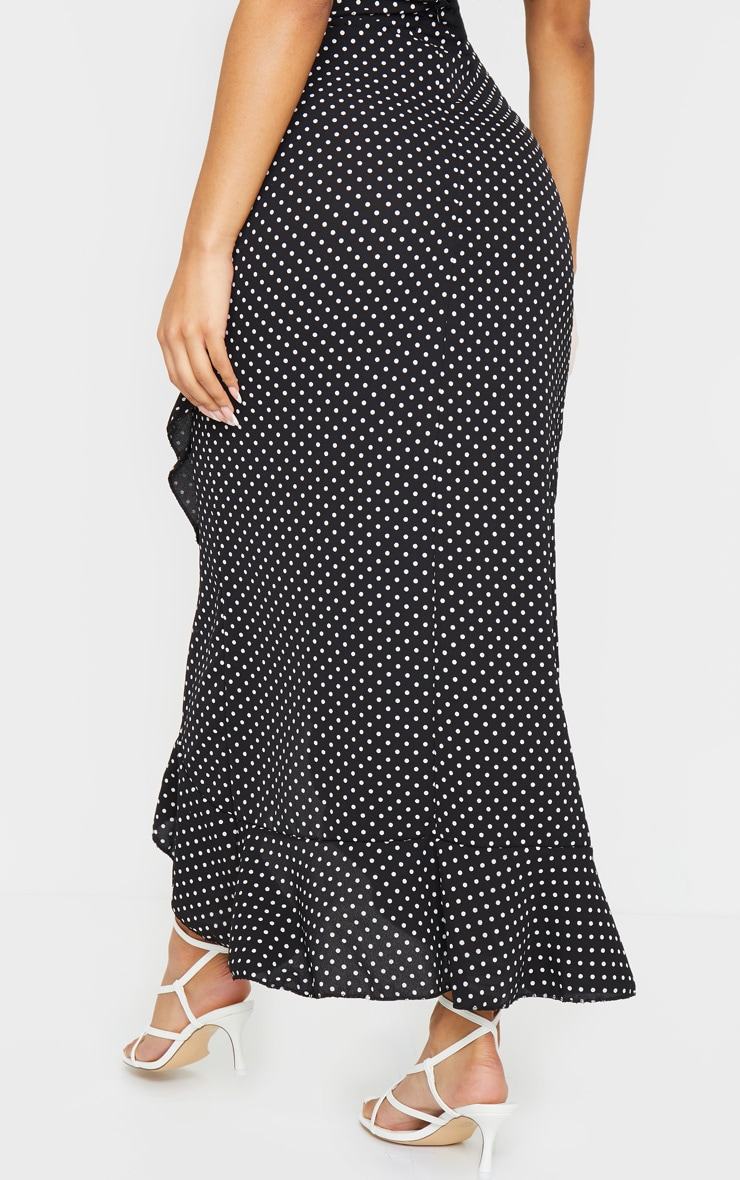 Black Polka Dot Printed Woven Frill Hem Midi Skirt 3