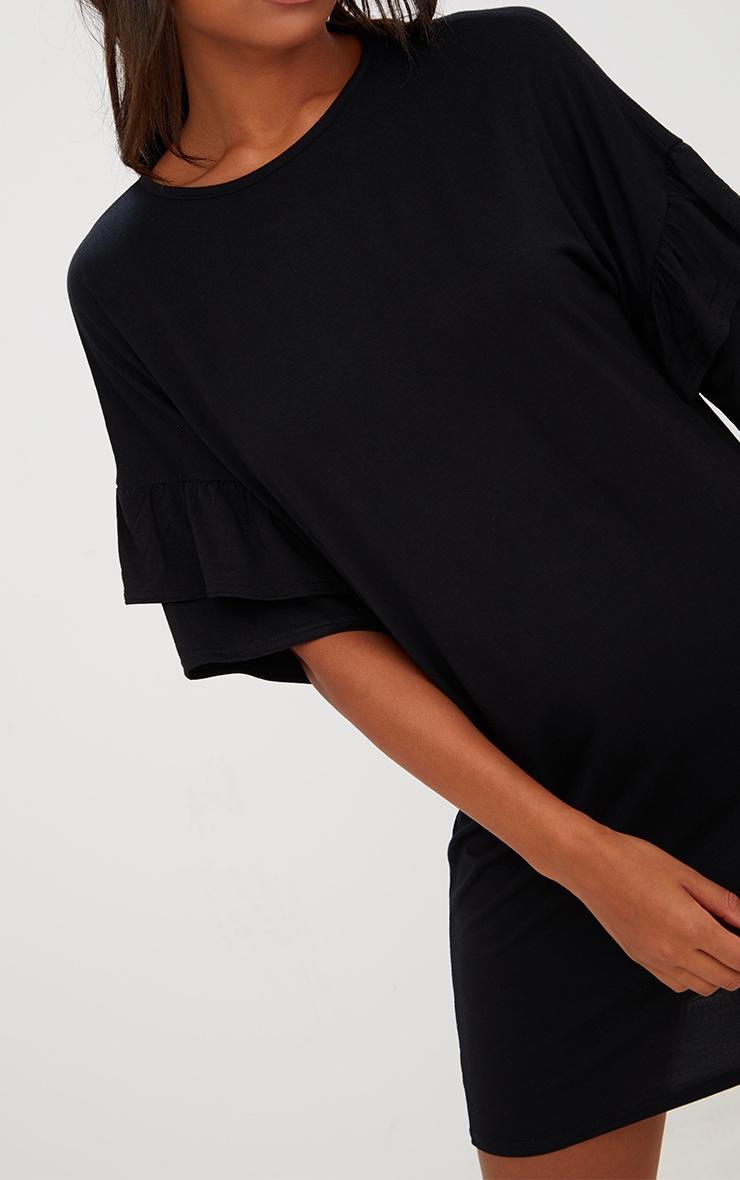 Black Double Frill T Shirt Dress 5