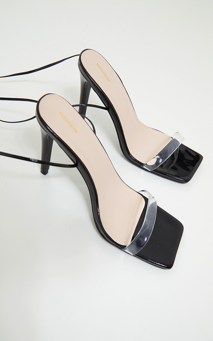 Black Wide Fit Clear Strap Lace Up High Heeled Sandals 3