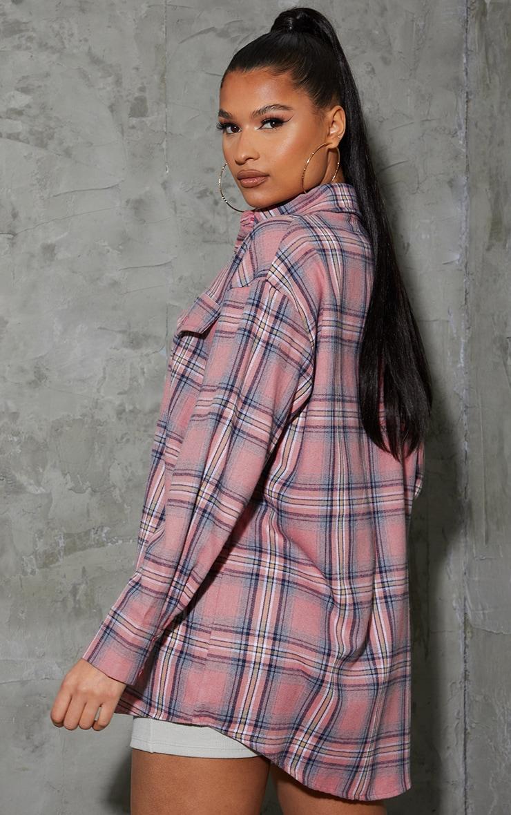 Blush Tartan Checked Flannel Pocket Detail Oversized Shirt 2