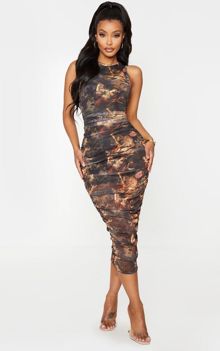 Shape Brown Renaissance Print Sleeveless Midi Dress 1
