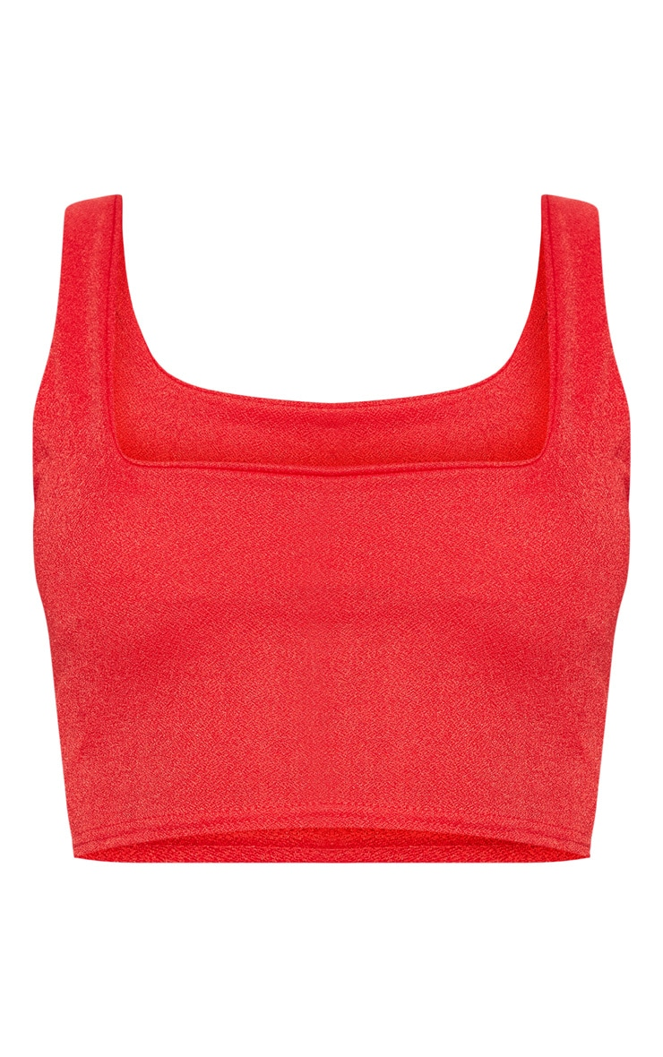 Red Stretch Crepe Square Neck Crop Top 3